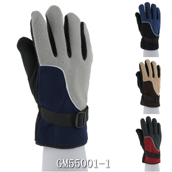 Men's Fleece Gloves With Velcro Strap Solid Plain GM55001-1 - OPT FASHION WHOLESALE