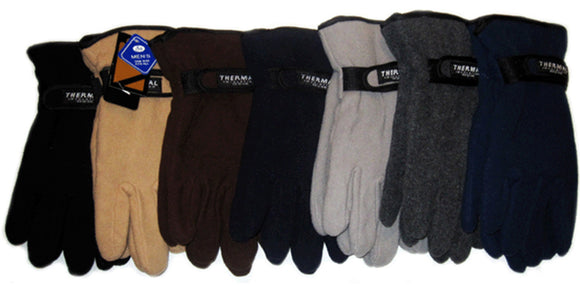 Men's Fleece Gloves With Velcro Strap Solid Plain GM55003 - OPT FASHION WHOLESALE