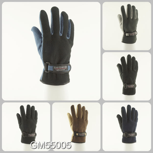 Men's Fleece Gloves With Velcro Strap Solid Plain GM55005 - OPT FASHION WHOLESALE