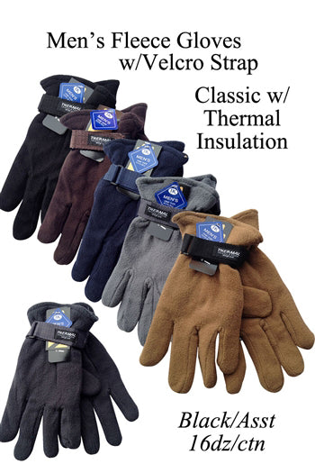 Men's Fleece Gloves With Velcro Strap Solid Plain AF041 - OPT FASHION WHOLESALE