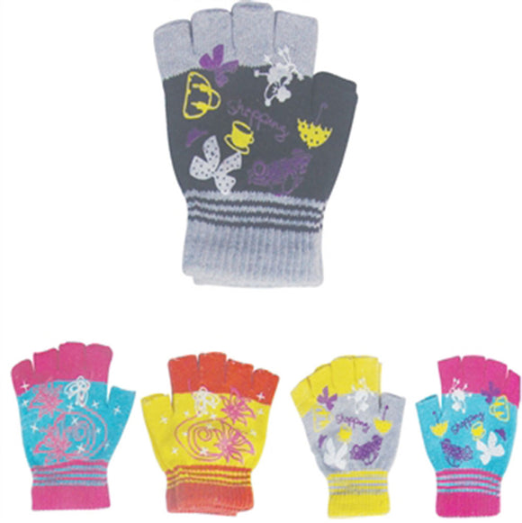 Children Teenager Knit Magic Fingerless Gloves GS0822 - OPT FASHION WHOLESALE