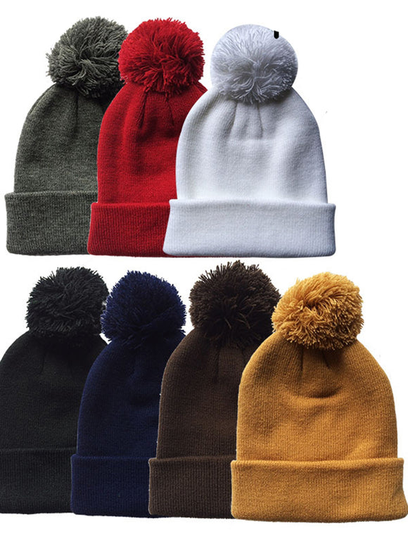 Wholesale Children Kids Cuffed Knit Ski Hats with Pom Pom Beanie, H53007 - OPT FASHION WHOLESALE
