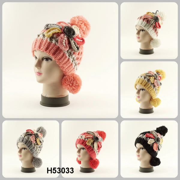 Hand Knit Crochet Flower Hat H53033 - OPT FASHION WHOLESALE