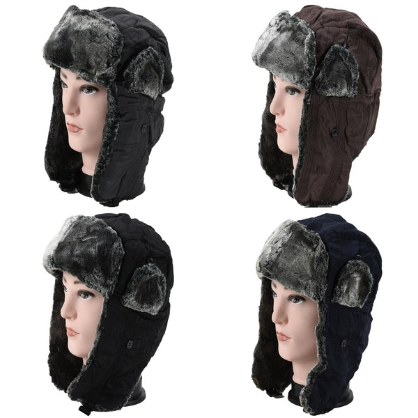 Wholesale Faux Fur Plain Trapper Aviator Trooper Hats H53088 - OPT FASHION WHOLESALE