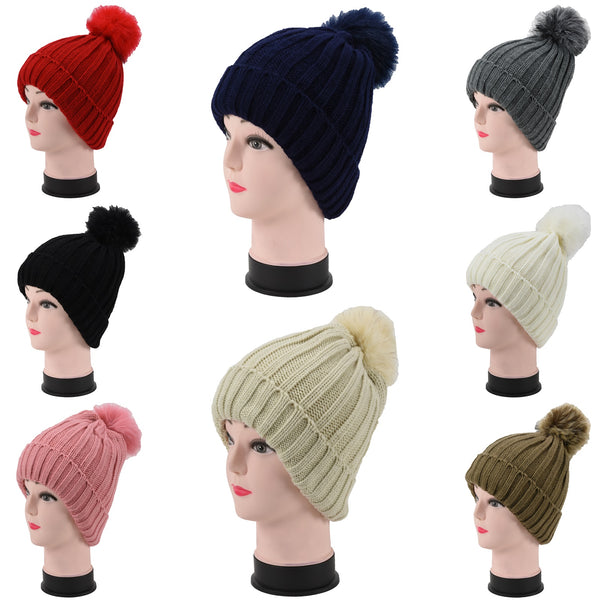 Wholesale Knit Beanie Cuffed Long Hats W/Fur Pom H53096 - OPT FASHION WHOLESALE