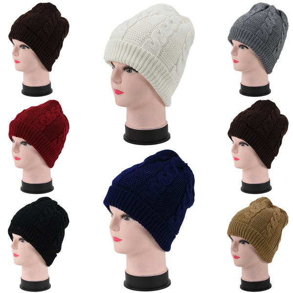 Wholesale Knit Cable Beanie Plain Hats H53100 - OPT FASHION WHOLESALE