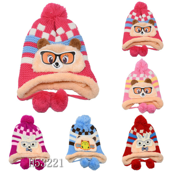 Kids Boys Girls Animal Winter Warm Hats Caps Fur Lining, H53221 - OPT FASHION WHOLESALE