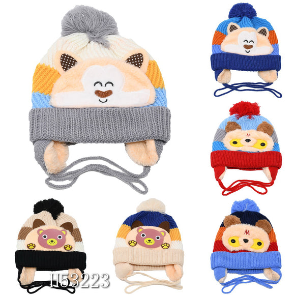 Kids Boys Girls Animal Winter Warm Hats Caps Fur Lining, H53223 - OPT FASHION WHOLESALE