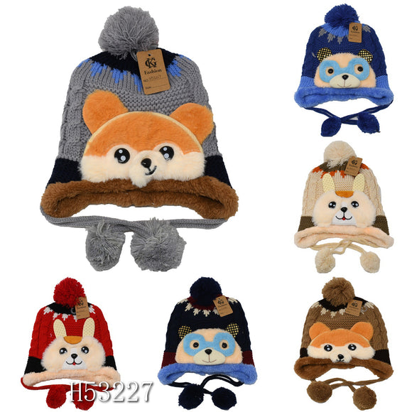 Kids Boys Girls Animal Winter Warm Hats Caps Fur Lining, H53227 - OPT FASHION WHOLESALE