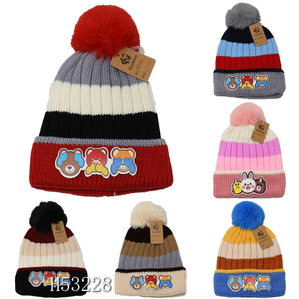 Kids Boys Girls Animal Winter Warm Hats Caps Fur Lining, H53228 - OPT FASHION WHOLESALE