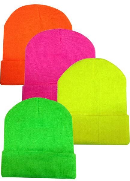 Wholesale Neon Cuffed Knit Ski Hat Beanie, H8000 - OPT FASHION WHOLESALE