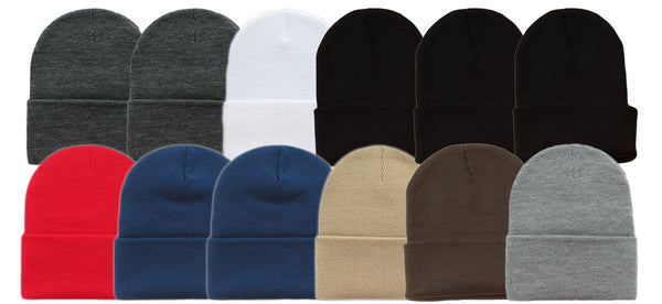 Wholesale Cuff Roll Kid's Knit Ski Long Beanie Hats H8001K - OPT FASHION WHOLESALE
