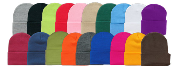 Wholesale First Quality Plain Ski Hat w/Roll Cuff Long Beanie, H8002 - OPT FASHION WHOLESALE