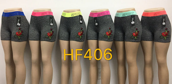Sports Yoga Gym Workout Short Legging Pant With Flower, HF406 - OPT FASHION WHOLESALE