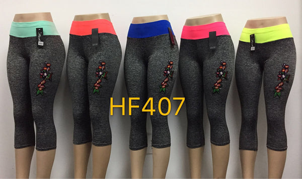Capri Sports Yoga Gym Workout Legging Pant, HF407 - OPT FASHION WHOLESALE