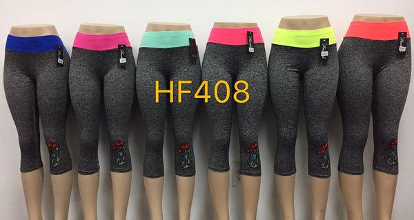 Capri Sports Yoga Gym Workout Legging Pant, HF408 - OPT FASHION WHOLESALE