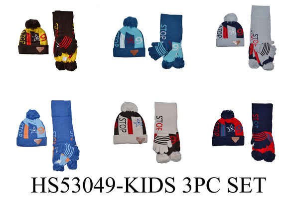 Wholesale Kids Boys 3 Pieces Set Winter Knit Hats Scarf Gloves Pom Cuffed Long Beanie Cap, HS53049