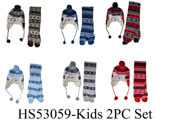Wholesale Kids Boys Girls 2 Pieces Winter Knit Hats Scarf Set Fur Pom Cute Cap W/Ear Flap, HS53059 - OPT FASHION WHOLESALE