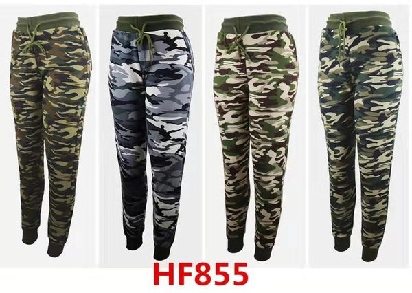 Lady Girl Winter Warm Camo Pants Leggings Fur Lining HF855 - OPT FASHION WHOLESALE