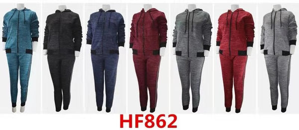 Lady Girl Winter Warm Pants Leggings With Top Jacket Fur Lining Set HF862 - OPT FASHION WHOLESALE