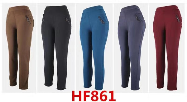Lady Girl Winter Warm Solid Pants Leggings Fur Lining HF861 - OPT FASHION WHOLESALE