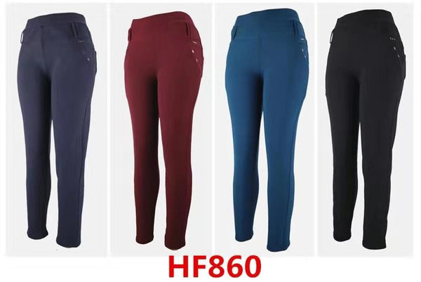 Lady Girl Winter Warm Solid Pants Leggings Fur Lining HF860 - OPT FASHION WHOLESALE