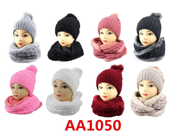 Wholesale Knit Cuffed Cable Beanie Hats W/Fur Pom And Fur Infinity Scarf 2 PC Set, AA1050 - OPT FASHION WHOLESALE