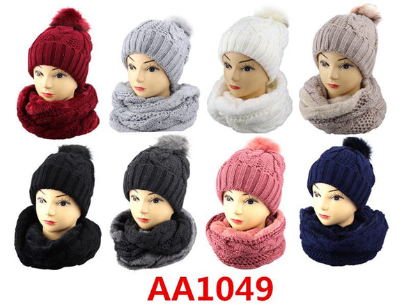 Wholesale Knit Cuffed Cable Beanie Hats W/Fur Pom And Fur Infinity Scarf 2 PC Set, AA1049 - OPT FASHION WHOLESALE