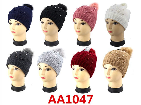 Wholesale Lady Cable Fur Pom Knit Beanie Hats AA1047 - OPT FASHION WHOLESALE