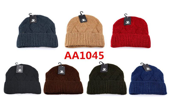 Wholesale Cable Knit Fur Lining Beanie Hats AA1045 - OPT FASHION WHOLESALE