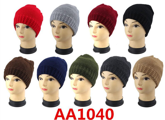 Wholesale Cable Knit Fur Lining Beanie Hats AA1040 - OPT FASHION WHOLESALE