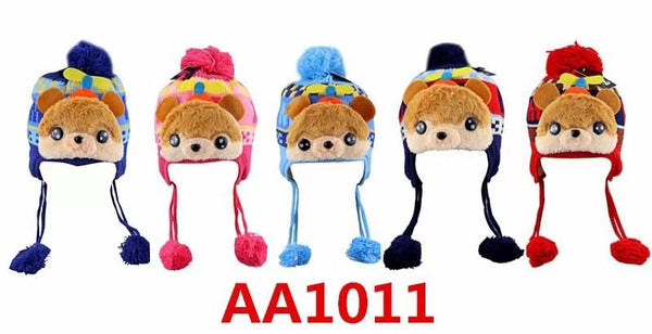 Kids Boys Girls Animal Winter Warm Hats Caps Fur Lining W/Earflap AA1011 - OPT FASHION WHOLESALE