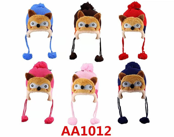 Kids Boys Girls Animal Winter Warm Hats Caps Fur Lining W/Earflap AA1012 - OPT FASHION WHOLESALE