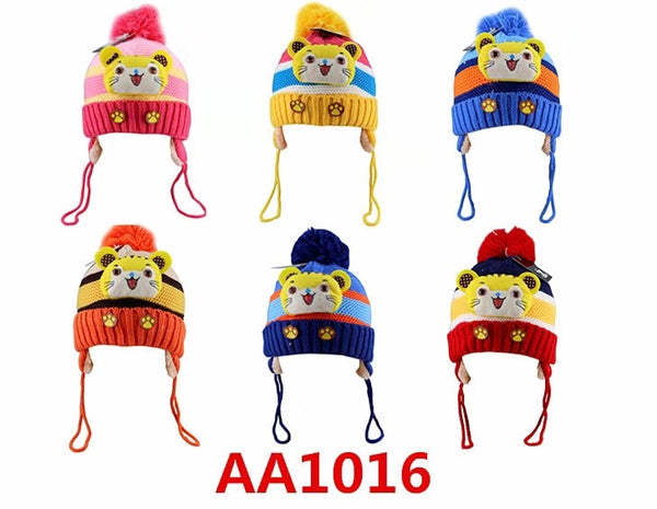 Kids Boys Girls Animal Winter Warm Hats Caps Fur Lining W/Earflap AA1016 - OPT FASHION WHOLESALE