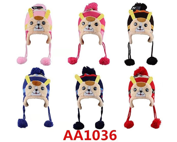 Kids Boys Girls Animal Winter Warm Hats Caps Fur Lining W/Earflap AA1036 - OPT FASHION WHOLESALE