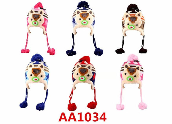 Kids Boys Girls Animal Winter Warm Hats Caps Fur Lining W/Earflap AA1034 - OPT FASHION WHOLESALE