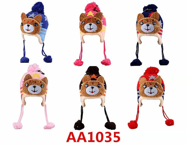 Kids Boys Girls Animal Winter Warm Hats Caps Fur Lining W/Earflap AA1035 - OPT FASHION WHOLESALE