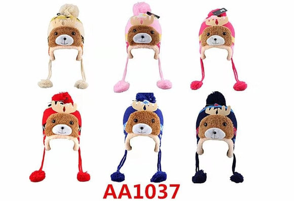 Kids Boys Girls Animal Winter Warm Hats Caps Fur Lining W/Earflap AA1037 - OPT FASHION WHOLESALE