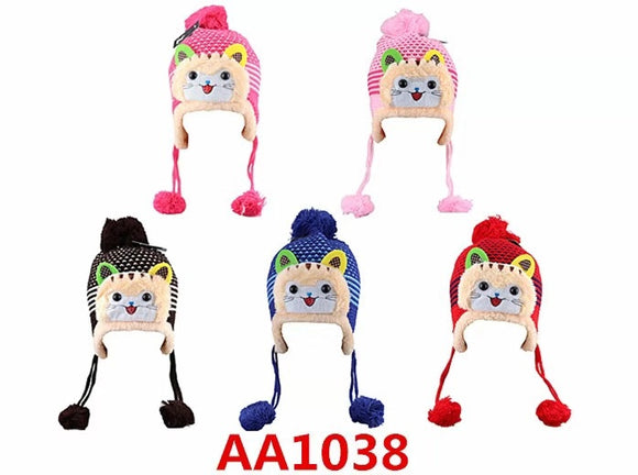 Kids Boys Girls Animal Winter Warm Hats Caps Fur Lining W/Earflap AA1038 - OPT FASHION WHOLESALE