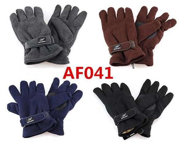 Polar Fleece Gloves With Leather Palm Grip Velcro Strap AF041 - OPT FASHION WHOLESALE