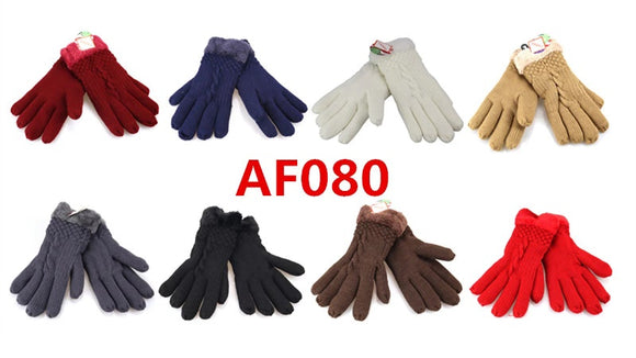 Lady Knit Fur Gloves AF080 - OPT FASHION WHOLESALE