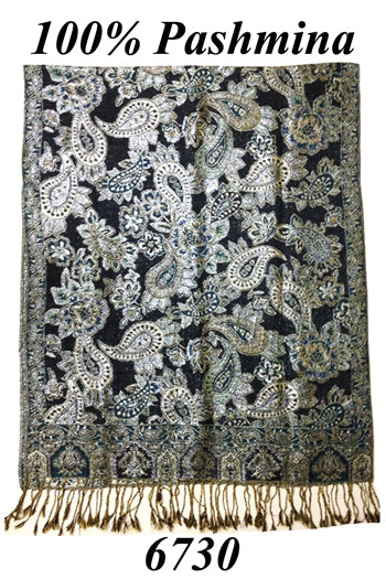 Soft Silky Paisley Classic 100% Pashmina Scarf Shawl Wrap 120 Gram, S6730 - OPT FASHION WHOLESALE