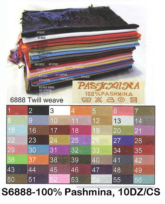 Classic 100% Pashmina 120 Gram Scarf, S6888 - OPT FASHION WHOLESALE