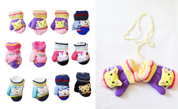 Wholesale Baby Knit Magic Mittens Gloves With Fun Animals GK55047 - OPT FASHION WHOLESALE