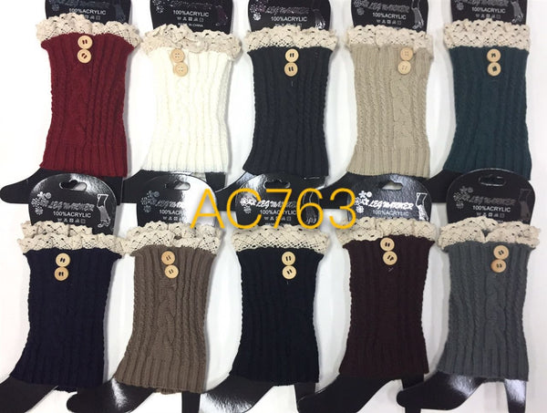 Wholesale Cable Knit Short Leg Warmers Boot Cuffs AC763 - OPT FASHION WHOLESALE