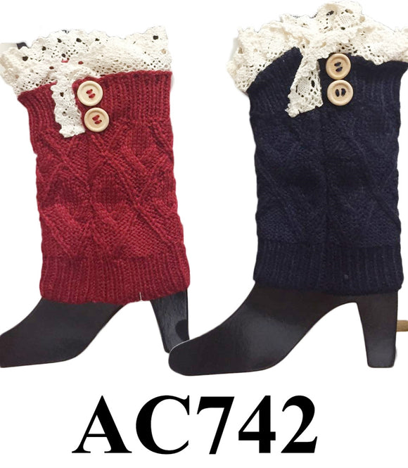 Cable Knit Button Short Leg Warmers Boot Cuffs AC742 - OPT FASHION WHOLESALE