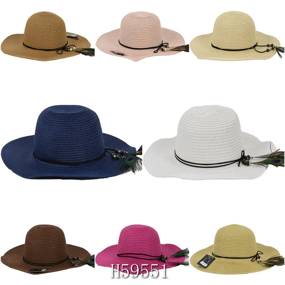 Wholesale Summer Sun Straw Bucket Hat Floppy Beach Cap, ‎H59551 - OPT FASHION WHOLESALE