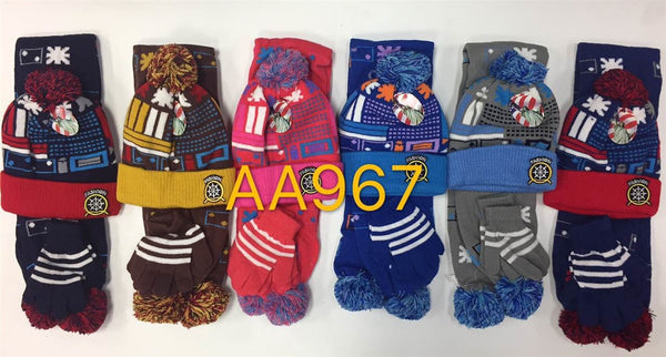 Wholesale Kids Children Boys Girls 3PCS SET Winter Hats Scarf Gloves AA967 - OPT FASHION WHOLESALE