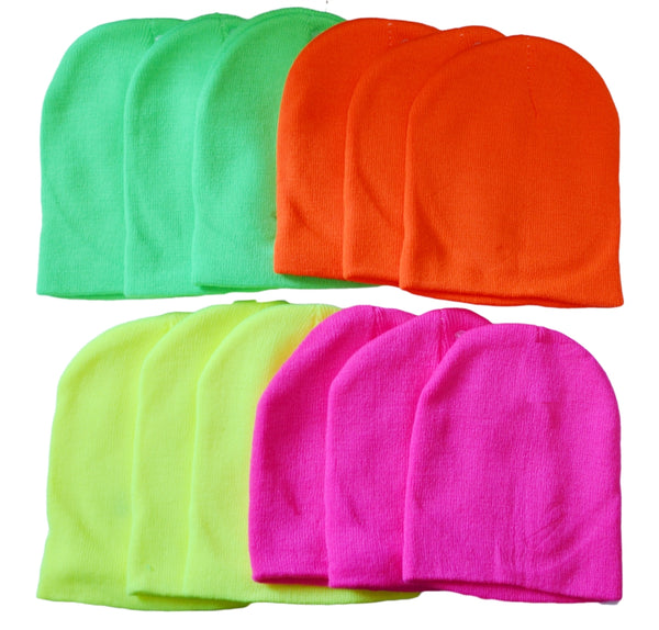 Wholesale Neon Knit Ski Hat Short Beanie, H8005