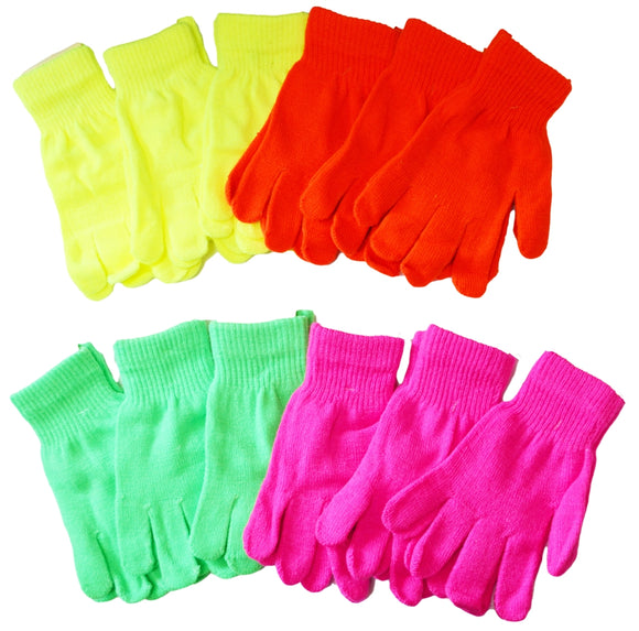 Neon Colors Fluorescent Magic Knit Gloves One Size Fits All G9101